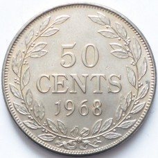 ЛИБЕРИЯ 50 ЦЕНТОВ 1968 г. UNC!