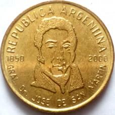 АРГЕНТИНА 50 СЕНТАВО 2000 г.  Сан Мартин. UNC ! ТИП-2 ! ОЧЕНЬ РЕДКАЯ!