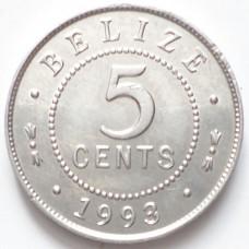 БЕЛИЗ 5 ЦЕНТОВ 1993 г. UNC!