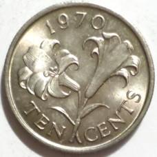 БЕРМУДЫ 10 ЦЕНТОВ 1970 г. UNC!