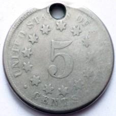 США 5 ЦЕНТОВ 1867 г. РЕДКАЯ!!!