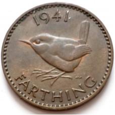 ВЕЛИКОБРИТАНИЯ 1 ФАРТИНГ 1941 г. ГЕОРГ VI.