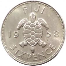 ФИДЖИ 6 ПЕНСОВ 1958 г. UNC!