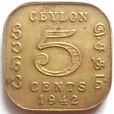 ЦЕЙЛОН 5 ЦЕНТОВ 1942 г. ГЕОРГ VI.