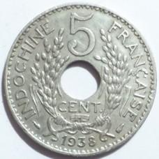 ИНДОКИТАЙ 5 ЦЕНТОВ 1938 г.