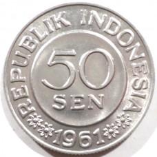 ИНДОНЕЗИЯ 50 СЕН 1961 г. UNC!
