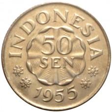 ИНДОНЕЗИЯ 50 СЕН 1955 г. ТИП-2. UNC!