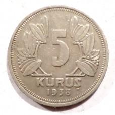 ТУРЦИЯ 5 КУРУШ 1938 г.