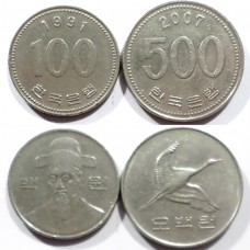 ЮЖНАЯ КОРЕЯ 100 + 500 ВОН 1991-2007 г.