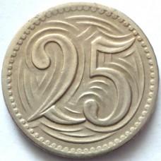 ЧЕХОСЛОВАКИЯ 25 ХЕЛЛЕРОВ 1933 г.