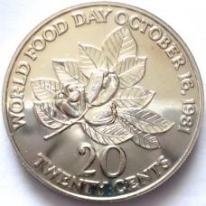 ЯМАЙКИ 20 ЦЕНТОВ 1981 г. FAO. UNC !!!