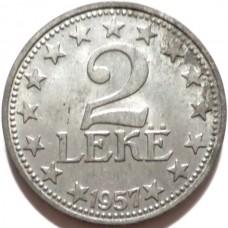 АЛБАНИЯ 2 ЛЕКА 1957 г. UNC!