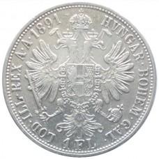 АВСТРИЯ 1 ФЛОРИН 1891 г. СЕРЕБРО!