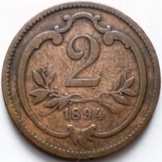 АВСТРИЯ 2 ХЕЛЛЕРА 1894 г.
