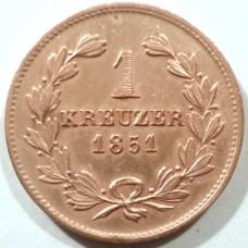 БАДЕН 1 КРЕЙЦЕР 1851 г. СОСТОЯНИЕ !