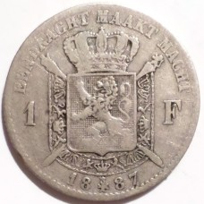 БЕЛЬГИЯ 1 ФРАНК 1887 г. DER. СЕРЕБРО!