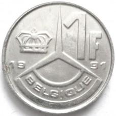 БЕЛЬГИЯ 1 ФРАНК 1991 г. - QUE