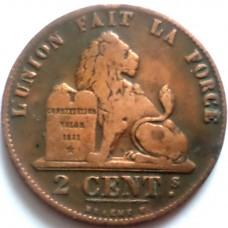 БЕЛЬГИЯ 2 САНТИМА 1845 г.