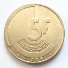 БЕЛЬГИЯ 5 ФРАНКОВ 1986 г. -QUE