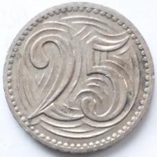 ЧЕХОСЛОВАКИЯ 25 ХЕЛЛЕРОВ 1933  г. СОСТОЯНИЕ !