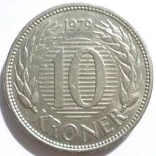 ДАНИЯ 10 КРОН 1979 г.  ТИП-1.