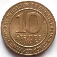 ФРАНЦИЯ 10 ФРАНКОВ 1987 г.  1000 ЛЕТ.