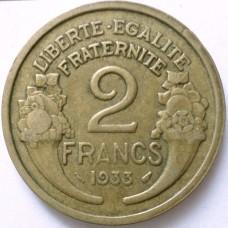 ФРАНЦИЯ 2 ФРАНКА 1933 г.