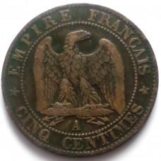 ФРАНЦИЯ 5 САНТИМ 1856 г. А. НАПОЛЕОН III.  СОСТОЯНИЕ !!!