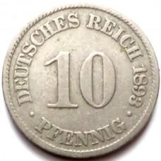 ГЕРМАНИЯ 10 ПФЕННИГОВ 1893 г.
