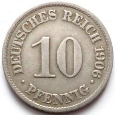 ГЕРМАНИЯ 10 ПФЕННИГОВ 1906 г.