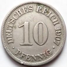 ГЕРМАНИЯ 10 ПФЕННИГОВ 1907 г.