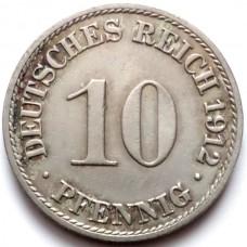 ГЕРМАНИЯ 10 ПФЕННИГОВ 1912 г.