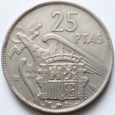 ИСПАНИЯ 25 ПЕСЕТ 1957 г.