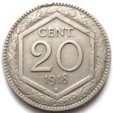 ИТАЛИЯ 20 ЧЕНТЕЗИМО 1918 г. ПЕРЕЧЕКАН! РЕДКАЯ!