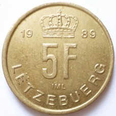 ЛЮКСЕМБУРГ 5 ФРАНКОВ 1989 г.