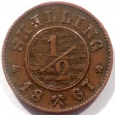НОРВЕГИЯ 1/2 СКИЛЛИНГА 1867 г.