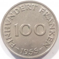 СААРЛЕНД 100 ФРАНКОВ 1955 г. РЕДКАЯ !