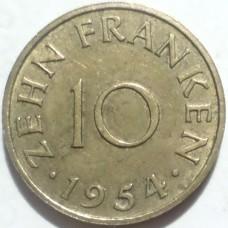 СААРЛЕНД 10 ФРАНКОВ 1954 г.
