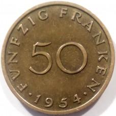 СААРЛЕНД 50 ФРАНКОВ 1954 г. ОЧЕНЬ РЕДКАЯ !