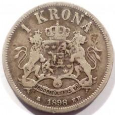 ШВЕЦИЯ 1 КРОНА 1898 г. ОСКАР II. СЕРЕБРО!
