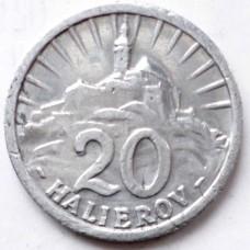 СЛОВАКИЯ 20 ХЕЛЛЕРОВ 1942  г. СОСТОЯНИЕ !