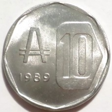 АРГЕНТИНА 10 АУСТРАЛЕЙ 1989 г. UNC !!!  ИЗ РОЛЛА !!!