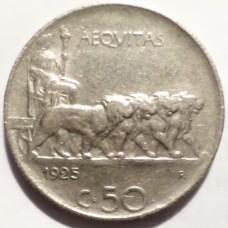 ИТАЛИЯ 50 ЧЕНТЕЗИМО 1925 г. ТИП-2. КМ# 61.2