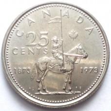 КАНАДА 25 ЦЕНТОВ 1973 г. 100 ЛЕТ.