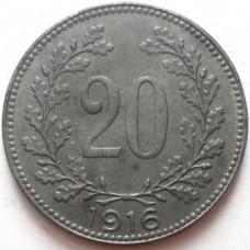 АВСТРИЯ 20 ХЕЛЛЕРОВ 1916 г. UNC !!!