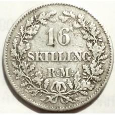 ДАНИЯ 16 СКИЛЛИНГ 1856 г.  СЕРЕБРО!