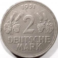ГЕРМАНИЯ 2 МАРКИ 1951 г. ДЕШЕВО !