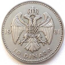 ЮГОСЛАВИЯ 10 ДИНАР 1931 г. СЕРЕБРО!