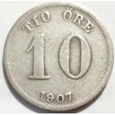 ШВЕЦИЯ 10 ЭРЕ 1907 г.  СЕРЕБРО!