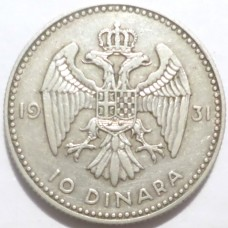 ЮГОСЛАВИЯ 10 ДИНАР 1931 г. СЕРЕБРО !
